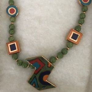 Retro Style Hand Painted Ceremic Bead Necklace